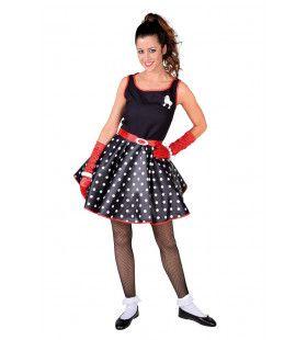 Zwart Rock And Roll Boogie Woogie Vrouw Kostuum