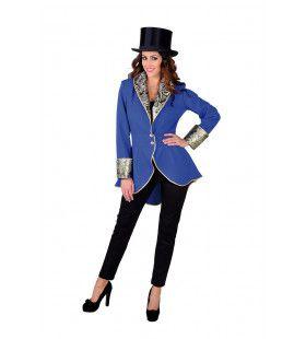 Fancy Freule Brokaat Jas Kobalt Blauw Vrouw