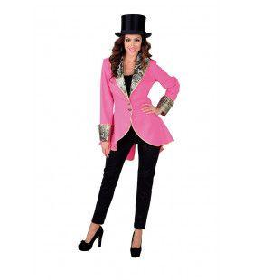Fancy Freule Brokaat Jas Roze Vrouw