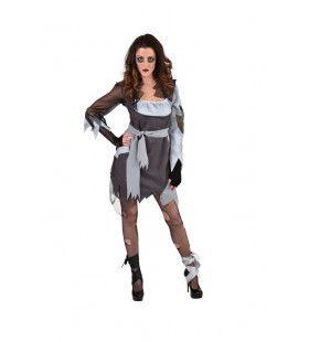 Grauwe Grijze Graf Zombie Vrouw Kostuum
