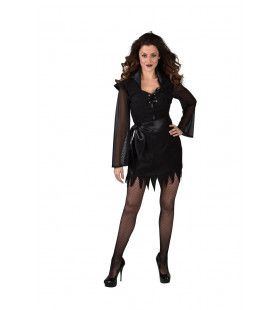 Onheilspellend Somber Zwarte Heks Vrouw Kostuum