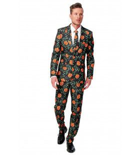 Stylish Halloween Pumpkin Leaves Suitmeister Kostuum Man