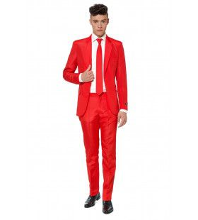Intense Solid Red Suitmeister Man Kostuum