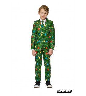 Groen Fonkelend Kerstbomen Jongen Kostuum