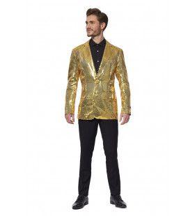 Gouden Show Quizmaster Paillettenjas Man