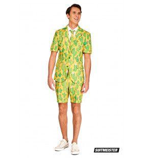 Sunny Yellow Cactus Zomer Man Kostuum