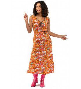 Oranje Lang Jaren 70 En 60 Hippie Bloemen Soul Disco Pretty Paisley Vrouw Kostuum