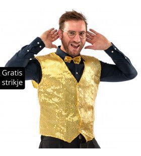 Showman Cocktail Gala Glitter Vest Met Dasje Goud Kostuum