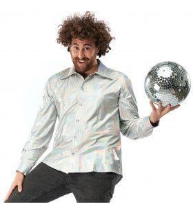 Zilveren Disco Dance Festival Sensation Jaren 90 Space Shirt Man