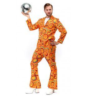 Oranje Jaren 70 Hippie Soul Disco 60s Agent Orange Man Kostuum