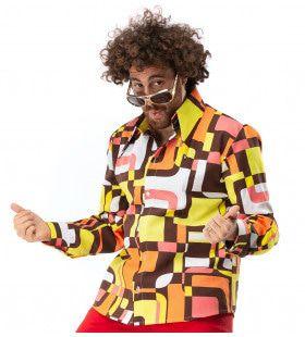 Jaren 70 Hippie Soul Disco 60s Dolle Lijnen Shirt Man