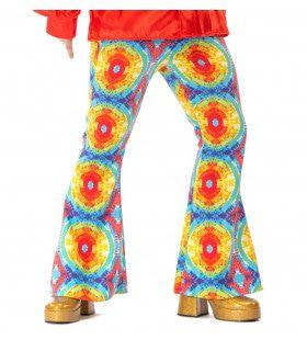 Jaren 60 Batik Flower Power Hippie Festival Broek Man