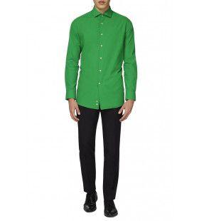 Groen Evergreen Overhemd Lange Mouwen Man