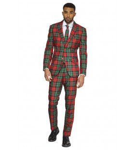 Trendy Tartan Kerst Kleuren Man Kostuum