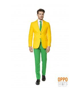 Flashy Green And Gold Opposuit Man Kostuum