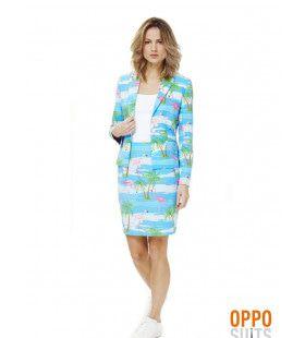 Tropisch Flamingirl Opposuit Vrouw Kostuum