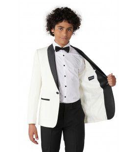 Classy Pearly White Opposuit Jongen Kostuum