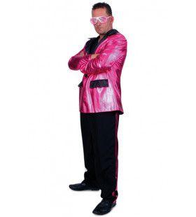 Disco Fever Smoking 2delig Roze Man Kostuum