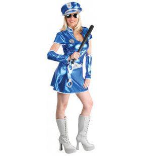 Glimmende Blauwe Politievrouw Kostuum