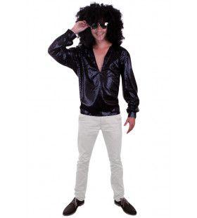 Donkere Bling Bling Disco Blouse Man Kostuum