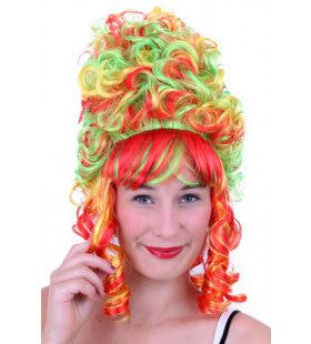 Pruik Vrolijke Hofdame Rood Geel Groen