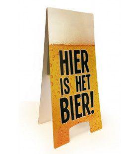 Waarschuwingsbord Hier Is Het Bier