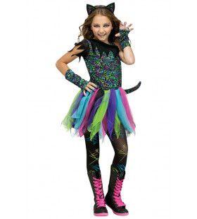 Glitter Neon Disco Kat Meisje Kostuum