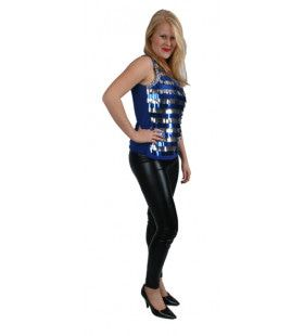 Disco Top Metallic Blauw Vrouw