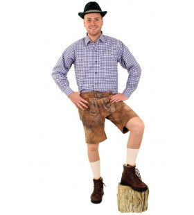 Tiroler Trachten Hemd Blauw Wit Geblokt Man