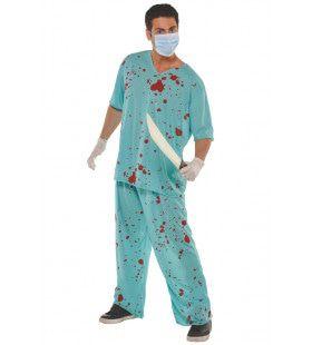 Gebarsten Bloedzak Chirurg Man Kostuum