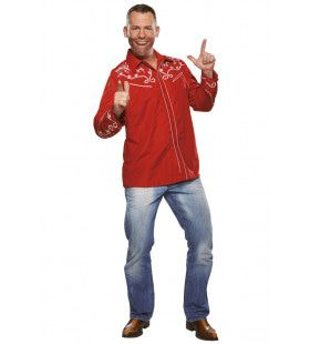 Country Blouse Linedance Rood Man