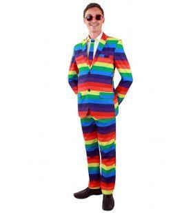 Vrolijk Robbie Regenboog Multicolor Man Kostuum