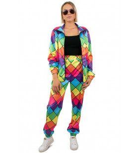 Jaren 80 Trainingspak Multicolor Ruit Dames Vrouw Kostuum
