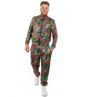 Jaren 80 Trainingspak Kleurige Zebra Strepen Heren Man Kostuum