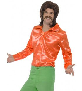 Glanzend Oranje Jaren 60 Shirt Man