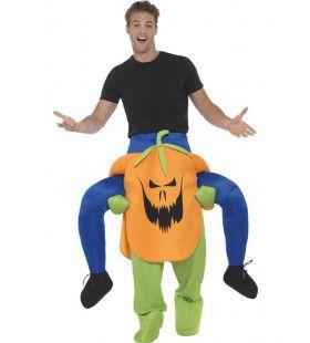 Bovenop Een Halloween Pompoen Man Kostuum