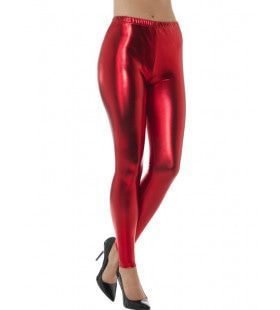Rode Metallic Disco Legging Vrouw