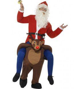 Ritje Op Een Rendier Kerstman Kostuum