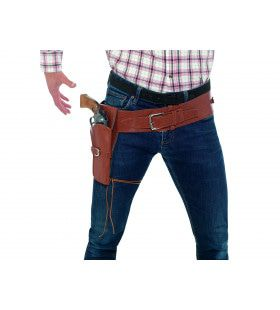 Bruin Lederen Cowboy Jim Holster En Riem