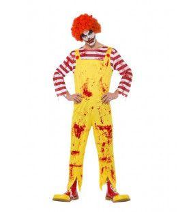 Griezelige Horror Clown Vol Bloedspatten Man Kostuum