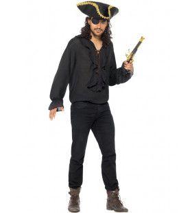 Elegante Charmante Piraten Blouse Zwart