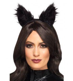 Pluizige Oortjes Zwarte Kat Haarband