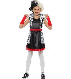 Kleine Slechte Cruella De Vil Meisje Kostuum
