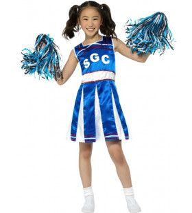 Blauw Dol Enthousiaste Cheerleader Meisje Kostuum