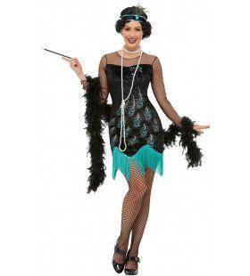 Charleston Flapper Pauw Motief Vrouw Kostuum