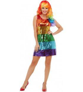 Vrolijk Glitter Regenboog Vrouw Kostuum