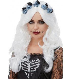 Naargeestige Day Of The Dead Spook Pruik Met Bloemen