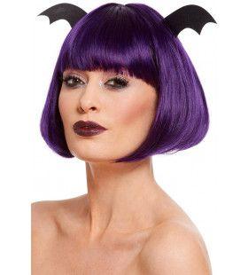 Feestelijke Halloween Pruik Met Vleermuisvleugels
