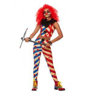 Gestreepte Enge Clown Vrouw Kostuum