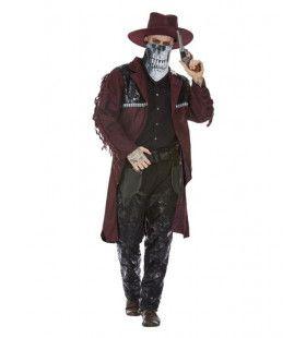 Luxe Cowboy Met Schedelmasker Man Kostuum
